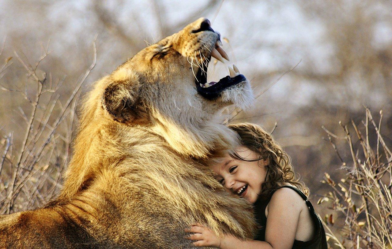 Das Mädchen mit dem Löwen zeigt, dass beiden unterschiedliche Gaben mitgegeben wurden. Intelligenz des Mädchens ist wie die Kraft des Löwen eine Gabe, ein Geschenk.