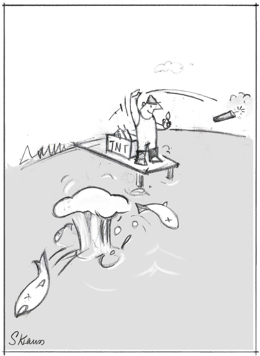 Das Bild illustriert Personalauswalt mit Brachialmethoden. Es zeigt einen Angler, der mit Dynamit fischt. Ist so wie Eignungsdiagnostik mit endlosen Serien von Interviews, Stressinterviews oder AssessmentCenter mit  Übungen, die die Bewerberinnen und Bewerber unangemessen unter Druck setzen.
