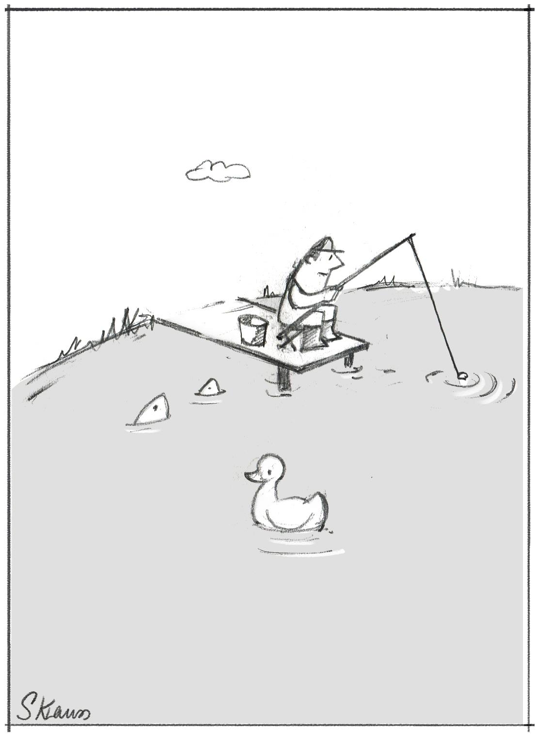 Das Bild zeigt einen Angler, der im Trüben fischt. Weil Eignungsdiagnostik hilft, die richtigen Mitarbeiterinnen und Mitarbeiter zu identifizieren, illustriert das Bild wie ein Chef ohne gute Personalauswahl sich verhält: Er fischt imTrüben.