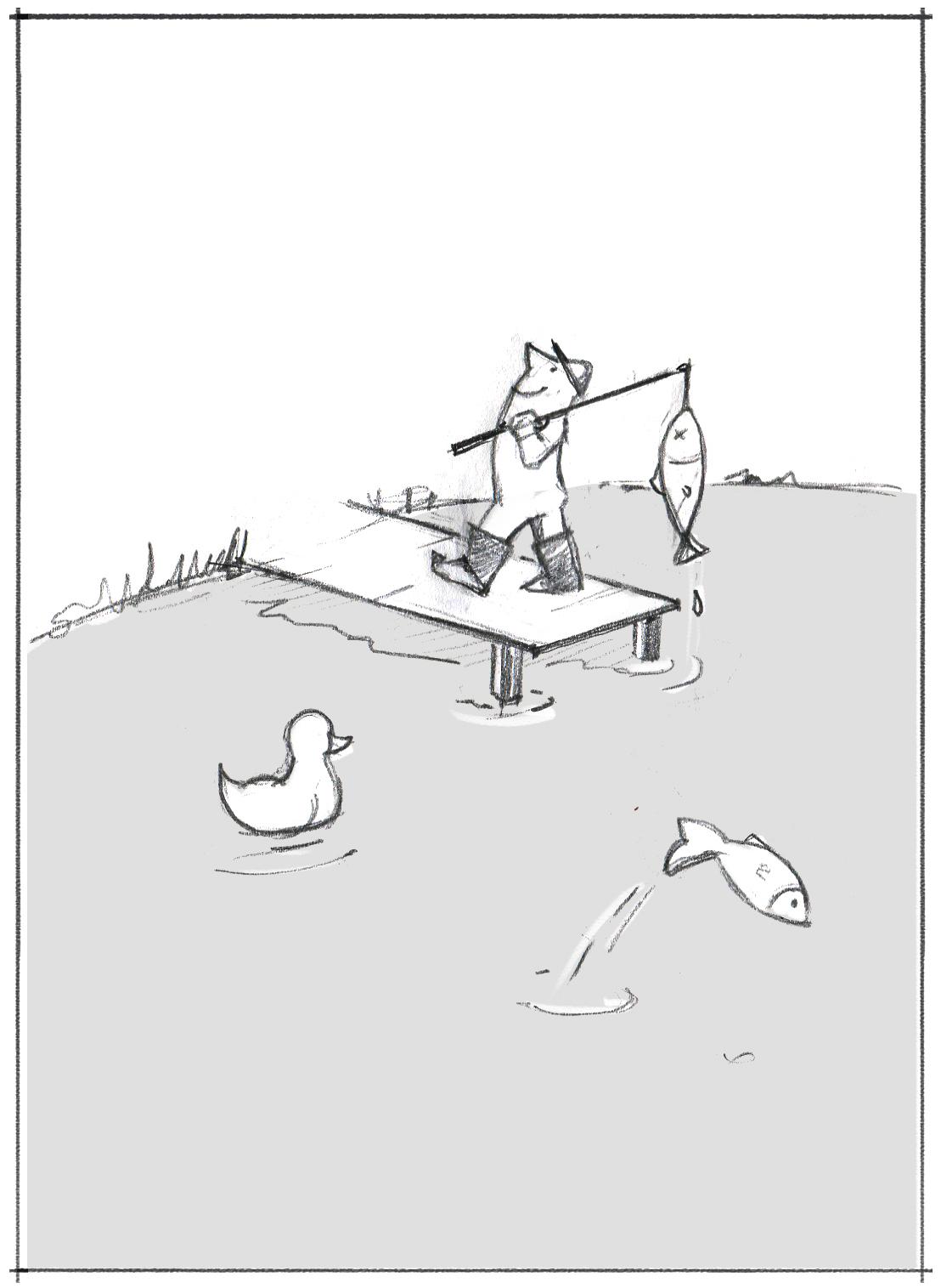 Ds Bild zeigt einen Stolzen Angler. Das illustriert, wie bei der Interviewführung viele Gespräche führen nicht unbedingt  besser macht, aber das führt zu mehr subjektiver Sicherheit. Wie der Angler, der denkt, es wäre seine Technik, der er den Fisch verdankt.
