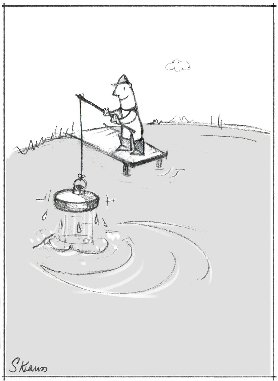 Ds Bild zeigt Angeln verkehrt, wie Personalauswahl verkehrt: Sich einen Star suchend ihn dannen seiner alten Firma unmöglich machen. Das geht gar nicht, das ist so wie ein Angler, der genganzen Teich trocken legt um einen einzigen dicken Fisch zu fangen.