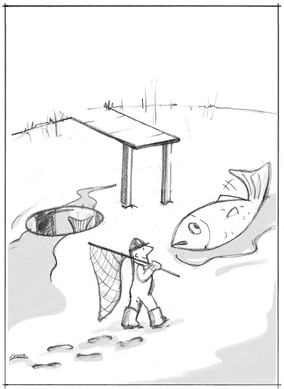 Ds Bild zeigt einen Angler, der den Teich gelehrt hat und jetzt seinen Fisch einsammelt. Das ist wie Headhunter, die ohne Rücksicht auf die Folgen Stars abwerben und dabei bis zum Äußersten gehen.