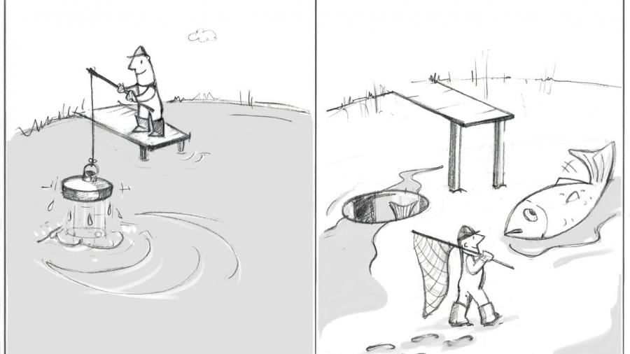 DiesesBilz zeigt einen Angler, der mit einem Stöpsel einen Teich leert und dann einen großen Fisch in der Mitte einsammelt. Wie ein Headhunter, der eine Firma ausleert auf der Suche nach den Starmitarbeiter.