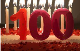 """Über 100 Forschung zu Eignungsdiagnostik geben wertvolle Hinweise für die Praxis. Das Bild zeigt brennende Kerzen und eine große """"100"""""""