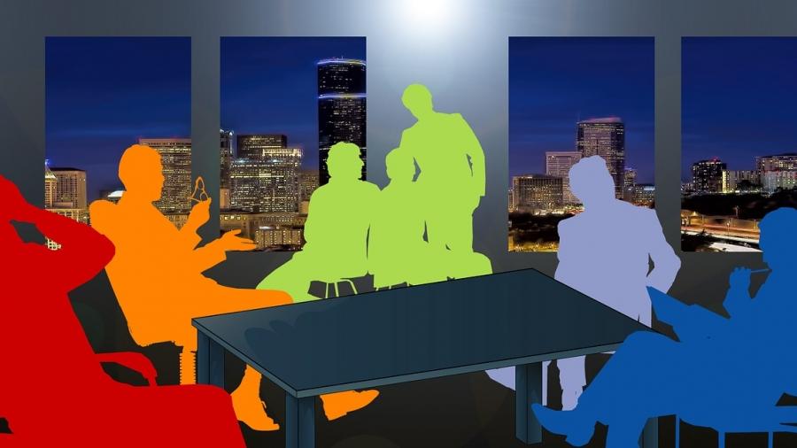 Der Vorstand und der Aufsichtsrat arbeiten zusammen. Menschen auf dem Titelbild symbolisieren das. Alle sind bunte Schatten, denn Menschen unterscheiden sich.